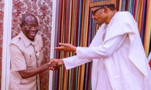 BREAKING: President Buhari Meets Sacked APC Chairman, Oshiomhole, In Aso Villa