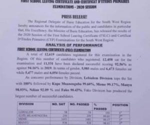 DISTURBING: statistics of F.S.L.C show school resumption is ineffective in South West region.