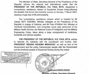 Read more about the article Cameroon: Presidency sends delegation, millions-worth of relief items to Equatorial Guinea